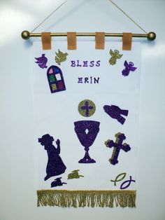 """First Communion Banner Kit to do at home or in class!  12""""x15"""" with peel and stick felt or glitter foam pieces!  No cutting, everything you need in the kit!  Colors: White, Wheat, Shimmer Gold, Shimmer Silver, Hunter Green, Navy, Red. #communion."""