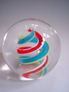 Hand Blown Art Glass Paperweight in red aqua and by rikerartglass, $30.00