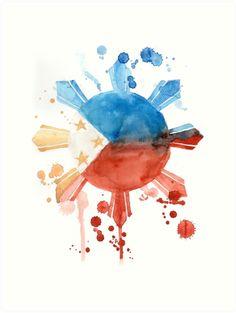 Philippine Flag Art Art Print by jveruditeartist Filipino Art, Filipino Culture, Filipino Tattoos, Filipino Tribal, Philippine Flag Wallpaper, Flag Drawing, Images Wallpaper, Wallpapers, Baybayin