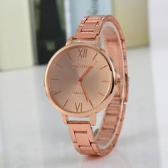 a252f3c6e5da Geneva Luxury Women Thin Stainless Steel Band Analog Quartz Wrist Watch  Watches