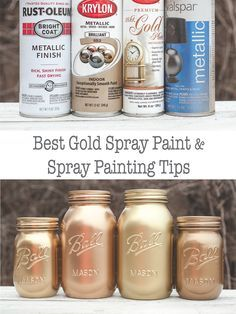 Best Gold Spray Paint Gold spary paing comparison and spray painting tips. Best Gold Spray Paint, Gold Paint, Chalk Paint, Spray Paint Furniture, Painted Furniture, Refinished Furniture, Spray Painting, Painting Tips, Do It Yourself Wedding