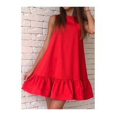 Round Neck Sleeveless Red Ruffled Dress ($20) ❤ liked on Polyvore featuring dresses, red, flounce dress, red ruffle dress, red mini dress, red print dress and frilly dresses