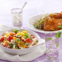Ruokaisa couscous-salaatti sopii sellaisenaan illanistujaistarjottavaksi tai lisäkkeeksi esimerkiksi broilerin kanssa. My Cookbook, Food Goals, Couscous, Fried Rice, Salad Recipes, Potato Salad, Easy Meals, Veggies, Food And Drink