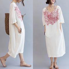 White loose long dresses