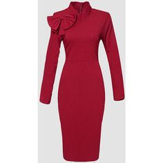 Plain Bowknot Glamorous High Neck Bodycon Dress ($26) ❤ liked on Polyvore featuring dresses, red high neck dress, bodycon party dresses, night out dresses, high neck dress and high neck bodycon dress