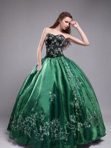 Latest Dark Green Quinceanera Dress Strapless Beading Taffeta Ball ...