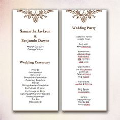 20 best diy wedding program templates instant download images on