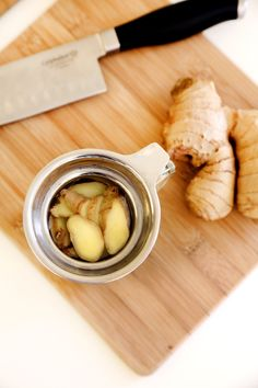 Steep a Fresh, Fuss-Free Cup of Ginger Tea:  Steeping ginger tea at home is a practically effortless process, since it only calls for two ingredients: sliced ginger root and hot water. There's no need to buy prepackaged, dry ginger tea when you can make the fresh, fuss-free version. Add lemon.