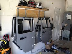 Jeep Wrangler Upgrades, Jeep Wrangler Doors, Jeep Doors, Wrangler Rubicon, Jeep Garage, Building A Door, Jeep Wrangler Accessories, Jeep Jl, Garage Shelf