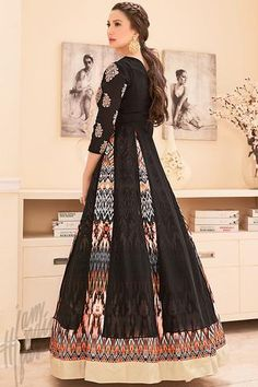 Black and Multicolor Georgette Printed Party Wear Suit