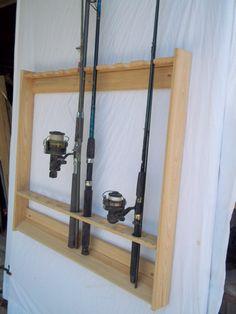 Wallmount Fishing Rod & Pole Rack Unfinished by Oakwoodgunracks
