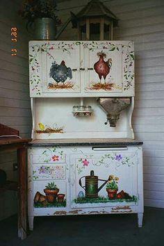 Stenciled Hoosier Cabinet