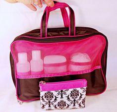 563d54ba0a7f Toiletry Cosmetic Makeup Travel Bag + Pouch Pink Black 6-Piece Bottles Bath  Pouf