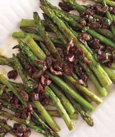 Roasted Asparagus With Olive Vinaigrette | Get the recipe for Roasted Asparagus With Olive Vinaigrette.