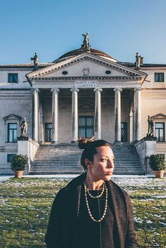 "photo by courtesy of @dvdprtto @garageraw @karishashasha wearing Dancing in the Rain 18kt gold necklace with diamonds in front of ""La Rotonda"" (Villa Almerico Capra) by Andrea Palladio in Vicenza. #NanisJewels in 18kt gold, diamonds and natural stones."