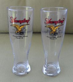 New Pair of One Pint Yuengling Clear Eagle Logo Bar Glasses from Pottsville, PA