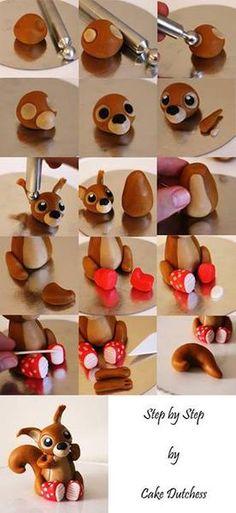 DIY Fondant Squirrel Tutorial by Cake Dutchess (Can also do with clay! Cake Dutchess, Fondant Toppers, Fondant Cakes, Cupcake Cakes, Cupcake Toppers, Rose Cupcake, Cake Topper Tutorial, Fondant Tutorial, Fondant Animals Tutorial