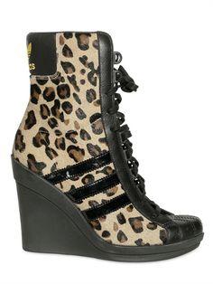 Adidas Originals by Originals 90mm Jeremy Scott Leopard Sneaker Wedges (I <3 THESE!)
