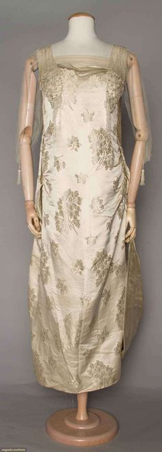 Ball Gown (image 1) | 1919 | brocaded satin, beaded tulle | Augusta Auctions | April 20, 2016/Lot 213