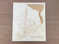 Sale Rochester Engraved Wood Neighborhood Map by EtchedAtlas