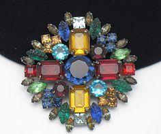Vintage KJL - Kenneth Jay Lane Large Vibrant Rhinestone Poured Glass Brooch