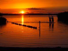 verkoeling bij de Leyen met de ondergaande zon.