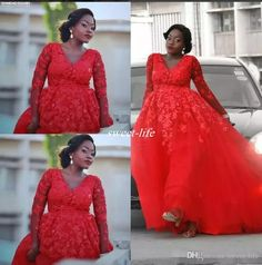 Plus Size Arabic Design Red Lace Applique Evening Dress V-neck Illusion Long  Sleeves Tulle Prom Dresses Sexy Formal Party Gowns Prom Dresses 247d34c0f644