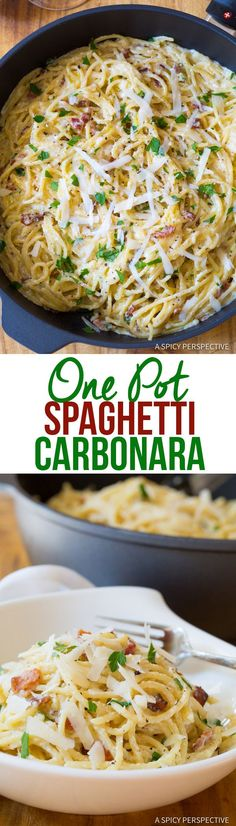 One Pot Spaghetti Carbonara Recipe - Creamy, cozy, and luxurious. This pasta dish offers comfort like no other, with bacon, silky carbonara sauce and One Pot Spaghetti, One Pot Pasta, Creamy Spaghetti, One Pot Meals, Easy Meals, One Pot Dishes, Cooking Recipes, Healthy Recipes, Cooking Games
