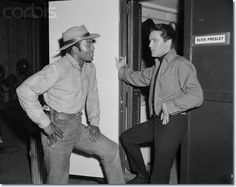 """Jim Brown with Elvis Presley - on the set of """"Roustabout"""" 