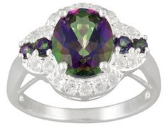 Mystic Topaz (Tm) 3.67ctw Oval And Round With .36ctw Round White Topaz Sterling Silver Ring