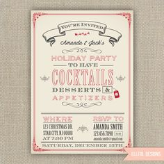 Items similar to Christmas Holiday Party Invitation - Printed or DIY on Etsy Christmas Party Games, Xmas Party, Holiday Parties, Christmas Open House, Christmas Holidays, Christmas Design, Happy Holidays, Christmas Decor, Christmas Ideas