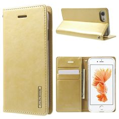 MERCURY GOOSPERY Blue Moon Leather Wallet Case for iPhone 7 4.7 inch - Gold