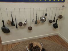 Sound Line - We made a sound line out of pans, utensils and wooden balls.
