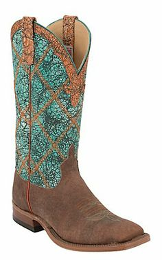 Anderson Bean Men's Brown w/ Turquoise Wash Double Welt Square Toe Western Boot | Cavender's