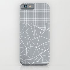 Abstract Outline Grid Grey iPhone & iPod Case #abstract #abstraction #grid #squares #grey #white #blocks #square