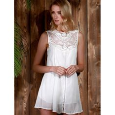 Trendy Style Round Collar Lace Splicing Chiffon Sleeveless Dress For Women | TwinkleDeals.com