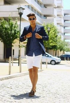 Men's Navy Blazer, Navy Long Sleeve Shirt, White Shorts, Brown Suede Oxford Shoes