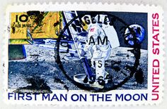 In memory of Neil Armstrong - wonderful stamp USA air mail postage 10c First Man On The Moon United States.