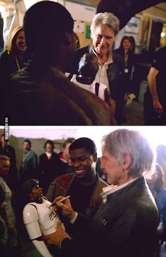"John Boyega asks Harrison Ford to sign his Han Solo figure after filming ""The Force Awakens"" - 9GAG"