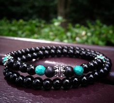 Gorgeous Black Obsidian with Bali Silver and Faceted Turquoise.   Shacklesco.com