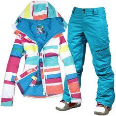2014 womens ski snowboarding suit women ladies snow suit skiwear color bars  jacket and blue pants c750721ea