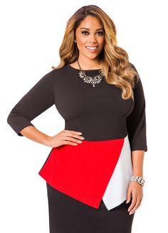 832f1d1b20d Colorblock Envelope Peplum Shirt - Ashley Stewart