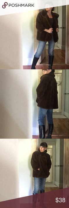 """Bloomingdales m. in Italy, vintage faux fur jacket Cozy next generation 3/4 sleeve faux fur, fully lined with an inside tag made in Italy, Deanna very good condition with one button closure at top and two hidden hook closures down the front, 38""""w x 26"""" l, 21"""" sleeve from top of shoulder, could fit xs- m, says size 8, shown on an xs Bloomingdale's Jackets & Coats"""