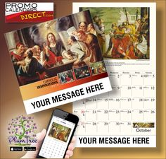 2021 Catholic Art Wall Calendars low as Fundraise for your Church or School. Promote your Business in the homes and offices of people in your area every day! Thursday Inspiration, Wall Calendars, Catholic Art, Promote Your Business, Hands, Messages, App, Marketing, Logo