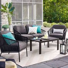Comfort, style and versatility never looked so good. The Standish Patio 4-Piece Strap Convo Set from Threshold is the modern patio update you've been looking for. If you love to spend time in your outdoor space, you'll appreciate the quality that goes into this handsome patio set. This set includes 1 loveseat, 2 armchairs, coffee table, and is designed to stand up to the elements and continuously give you comfort and performance. The seating pieces come with seat cushions for added co...
