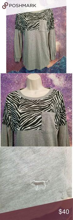 Victoria's Secret PINK Zebra Long Sleeve Shirt Size XS, great condition PINK Victoria's Secret Tops Tees - Long Sleeve