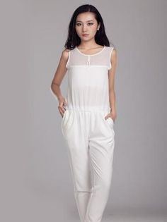 Elegant White Round Neck Sleeveless...