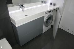 umywalka z pralką w zabudowie - zdjęcie od ML Projekt - Łazienka - Styl Minimalistyczny - ML Projekt