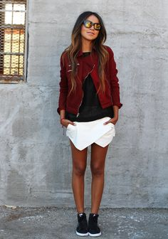 Moto jacket: Guess Blouse: THEORY Skort: Zara Sneakers: Nike Shades: Karen Walker