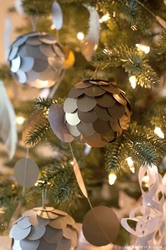Make Some Metallic Paper Ball Ornaments for Your Tree